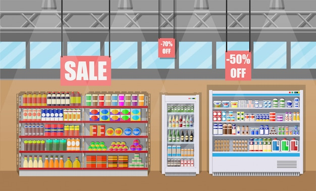 Interno del negozio di supermercato con merce. Vettore Premium