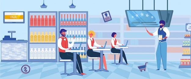 Lavoratori del supermercato che imparano, concetto di franchising. Vettore Premium