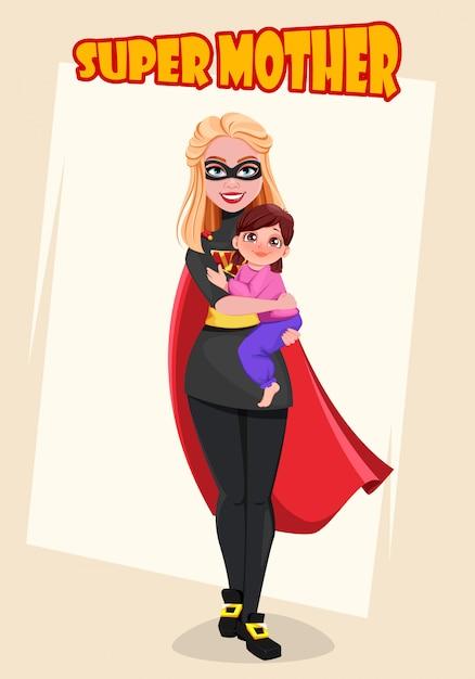 Supermother. biglietto di auguri per la festa della mamma Vettore Premium