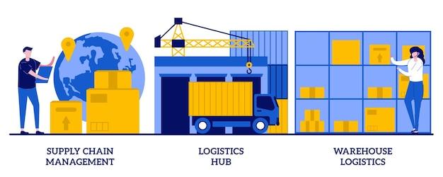 Gestione della catena di approvvigionamento, hub logistico, concetto di logistica di magazzino con persone minuscole. trasporto merci, set di stoccaggio. smistamento e spedizione, consegna pacchi. Vettore Premium