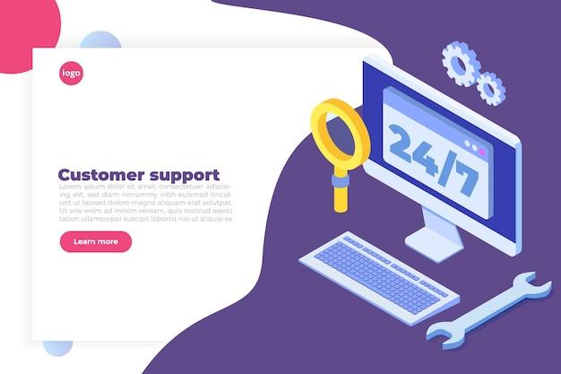 Supporto o concetto di call center. Vettore Premium