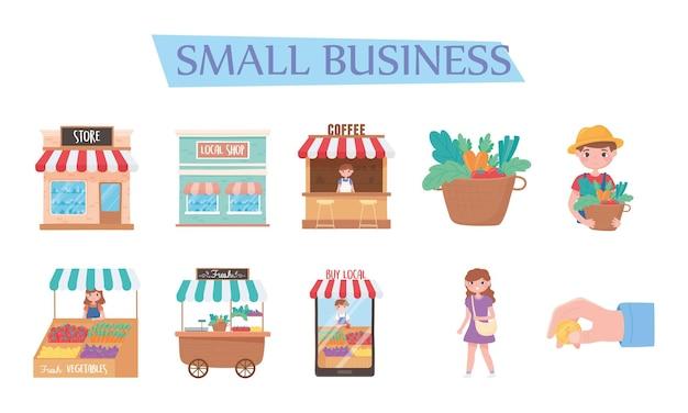 Supporta le attività commerciali locali, acquista dal marketing dei negozi locali Vettore Premium