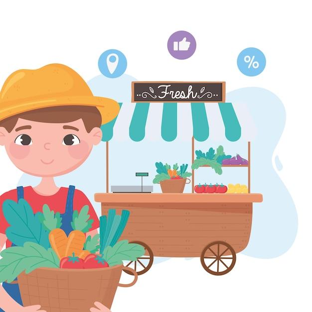 Sostieni le aziende locali, il contadino con cesti e bancarella di verdure per strada Vettore Premium