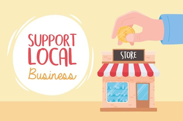 Sostieni le attività locali, porta i soldi in negozio Vettore Premium