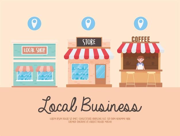 Supportare gli affari locali, promuovere lo shopping nei piccoli negozi locali Vettore Premium