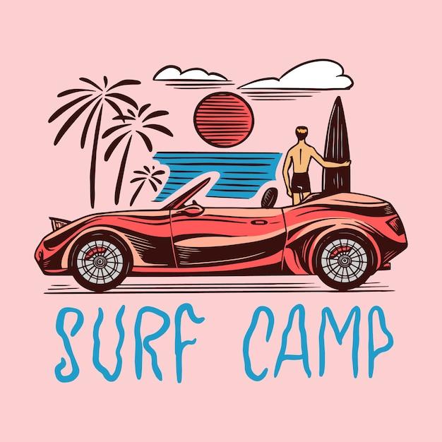 Distintivo del surf camp, logo vintage surfer. Vettore Premium