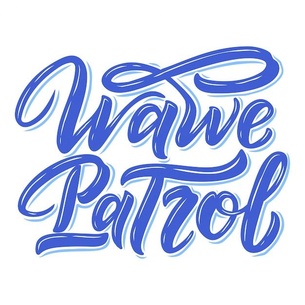Citazione scritta surf per poster, stampe, carte. progettazione tessile relativa al surf. Vettore Premium