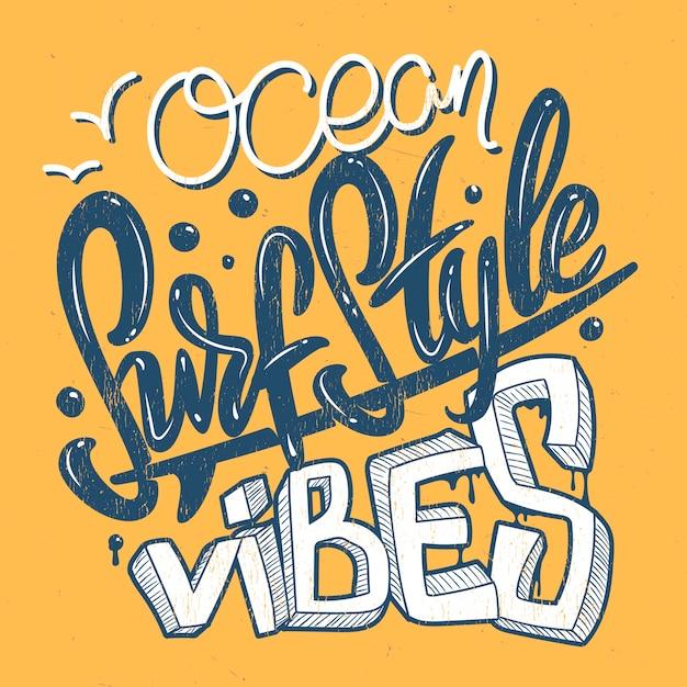 Vibrazioni oceaniche stile surf, stampa t-shirt. Vettore Premium