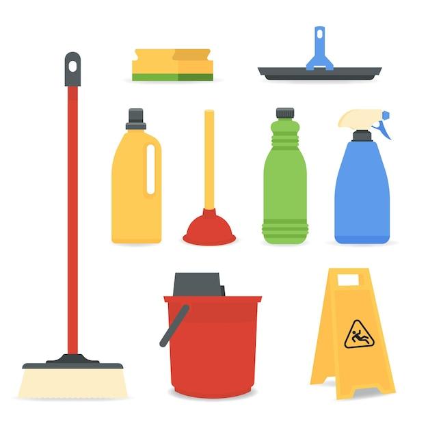 Set di attrezzature per la pulizia delle superfici Vettore Premium