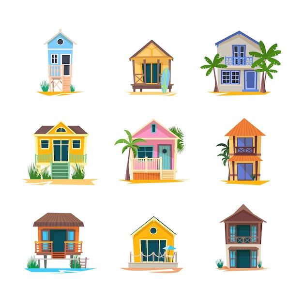 Casa del surfista o edificio sulla spiaggia del bungalow baywatch Vettore Premium