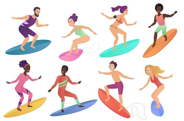 Gente del surfista che guida le tavole da surf Vettore Premium