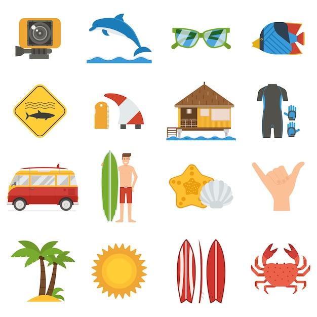 Set di icone di surf. collezione di elementi e accessori per il surf estivo. Vettore Premium