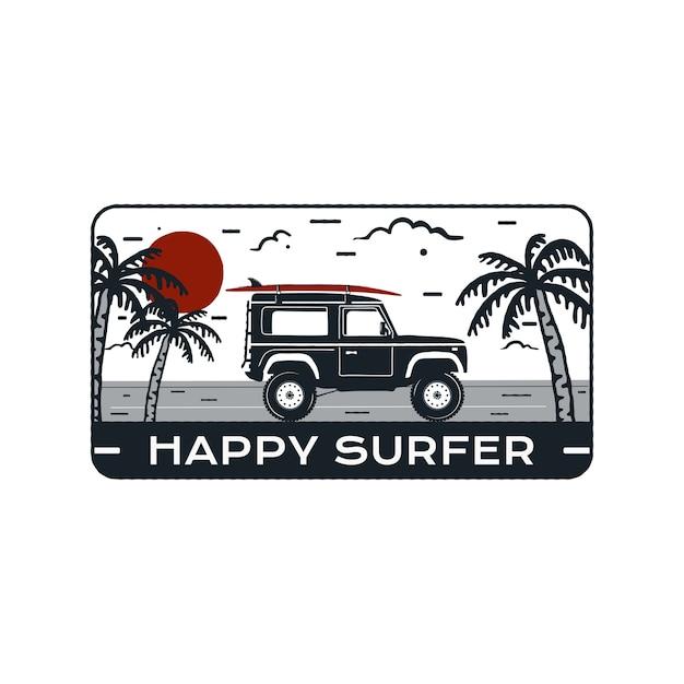 Emblema del logo di surf Vettore Premium