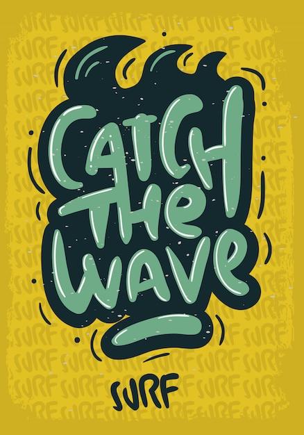 Tipo di iscrizione surf disegnata a mano scritta logo segno etichetta per immagine di poster t-shirt o adesivo annunci di promozione Vettore Premium