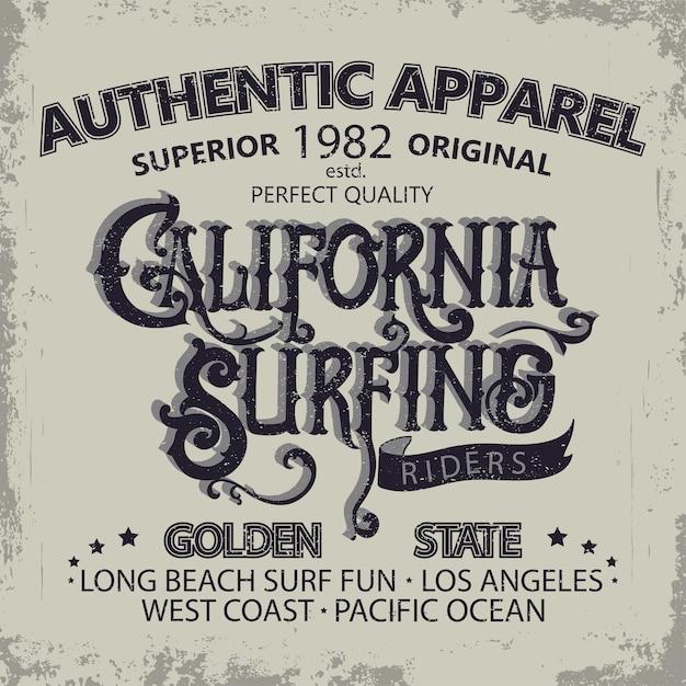 Progettazione grafica di t-shirt da surf. i surfisti della california dell'iscrizione della mano indossano l'emblema di tipografia. design creativo. Vettore Premium