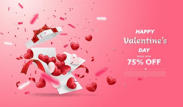 Sorpresa confezione regalo bianca con nastro rosso e palloncino cuori, confezione regalo aperto isolato, design di san valentino. Vettore Premium