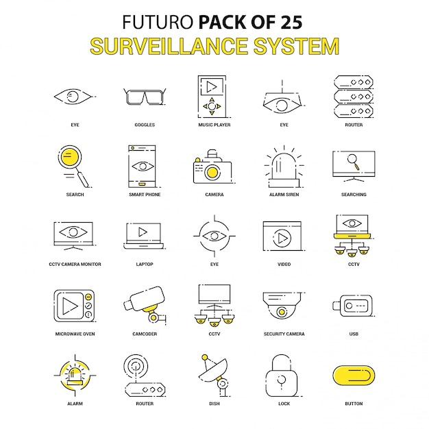 Set di icone di sorveglianza. pacchetto icone più recenti di futuro giallo Vettore Premium
