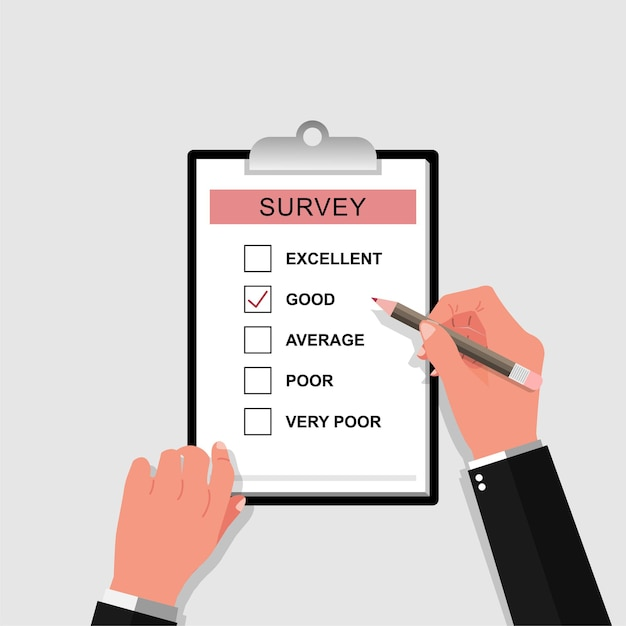 Modulo di indagine con illustrazione a matita. mano che tiene e riempire la lista di controllo sull'illustrazione degli appunti del foglio di carta. Vettore Premium