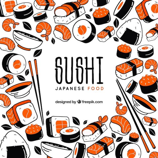 Sfondo di sushi Vettore Premium