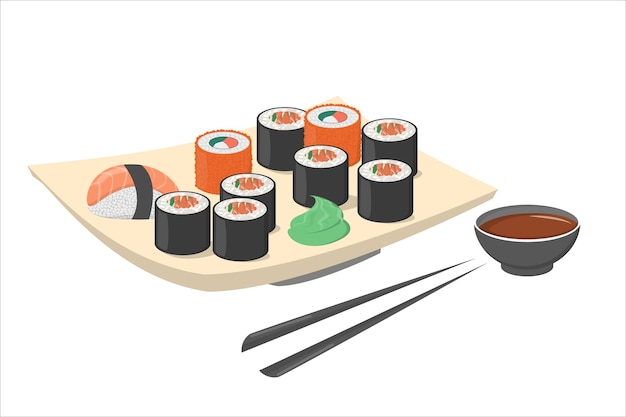 Rotolo di sushi sulla piastra con wasabi e bacchette nere. cibo fresco giapponese o cinese con salmone. frutti di mare nel piatto. illustrazione Vettore Premium