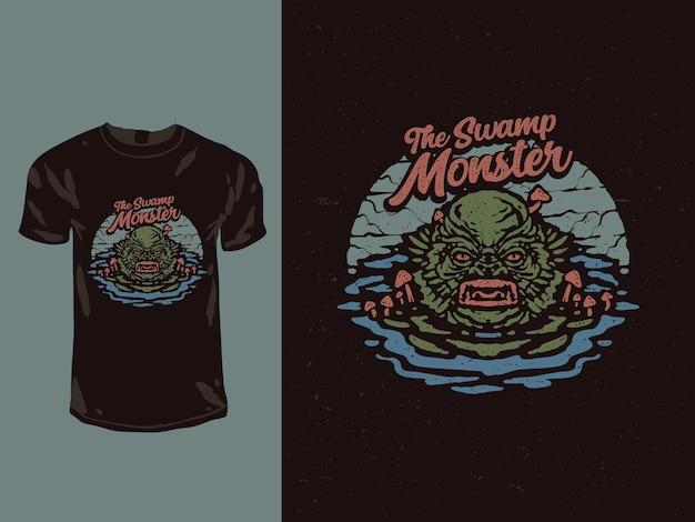 La maglietta del mostro della palude Vettore Premium