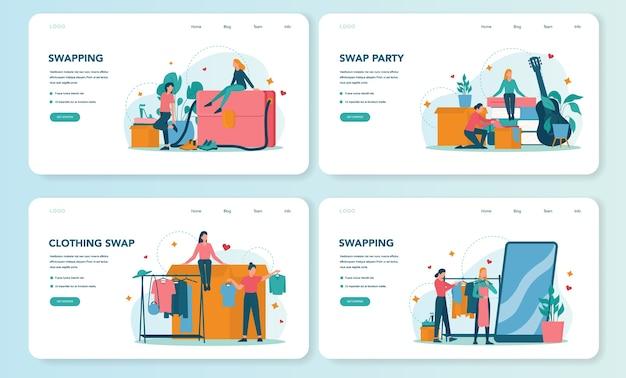 Swap party o banner web del mercato delle pulci o set di pagine di destinazione Vettore Premium