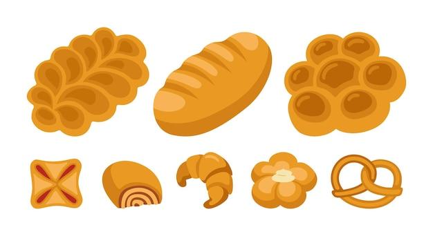 Insieme di clipart del fumetto di panini dolci. prodotti da forno pagnotta di pane e ciambellina salata di vimini, pasta sfoglia croissant, rotolo Vettore Premium