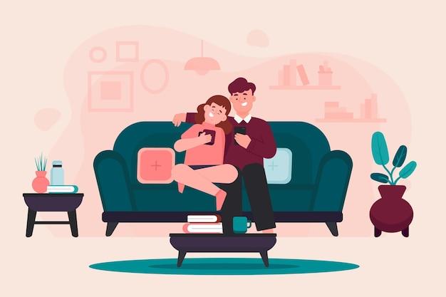 Coppia dolce seduto sul divano Vettore Premium