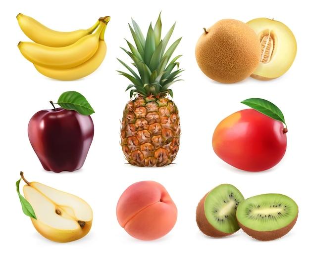 Frutta dolce. banana, ananas, mela, melone, mango, kiwi, pesca, pera. Vettore Premium