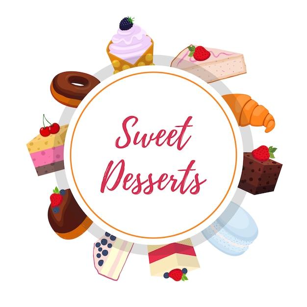 Sfondo di pasticceria dolce con dessert Vettore Premium