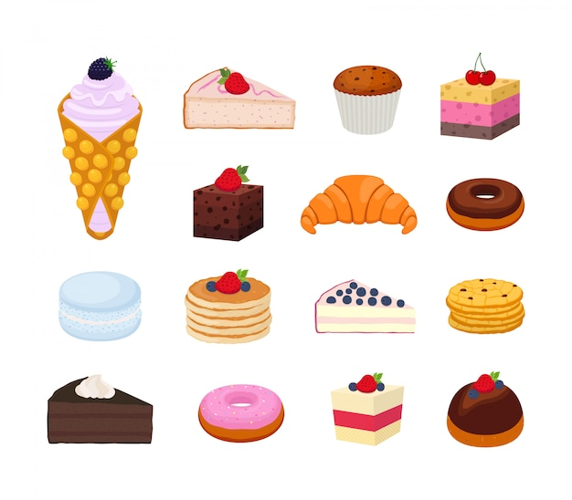 Set di pasticceria dolce, raccolta di gustose cheesecake, cornetti, torte Vettore Premium