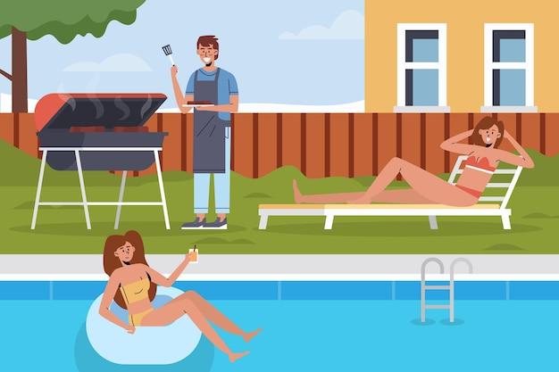Piscina e grill staycation Vettore Premium