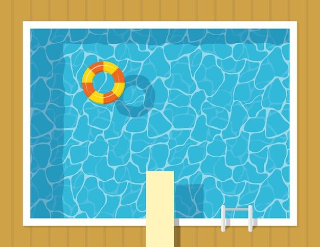 Vista dall'alto della piscina con anello gonfiabile e trampolino di lancio. vacanza relax per il tempo libero in acqua blu Vettore Premium