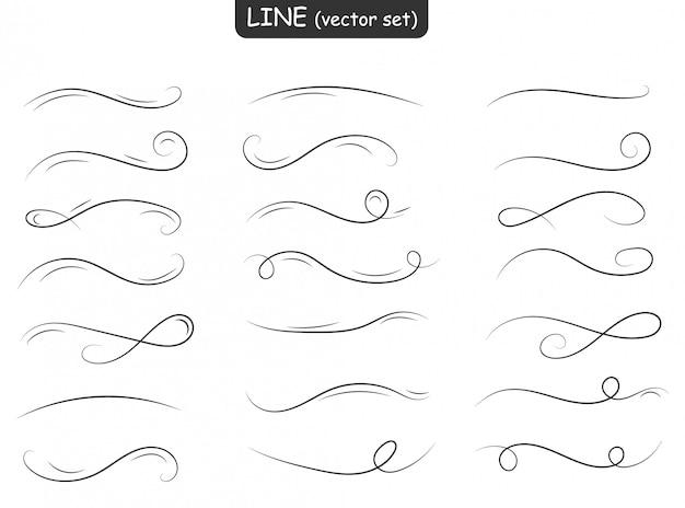 Linee di ornamento di turbinio. insieme di linee, bordi e allori. doodles disegnati a mano. elementi decorativi del telaio. design retrò. stile vintage. Vettore Premium