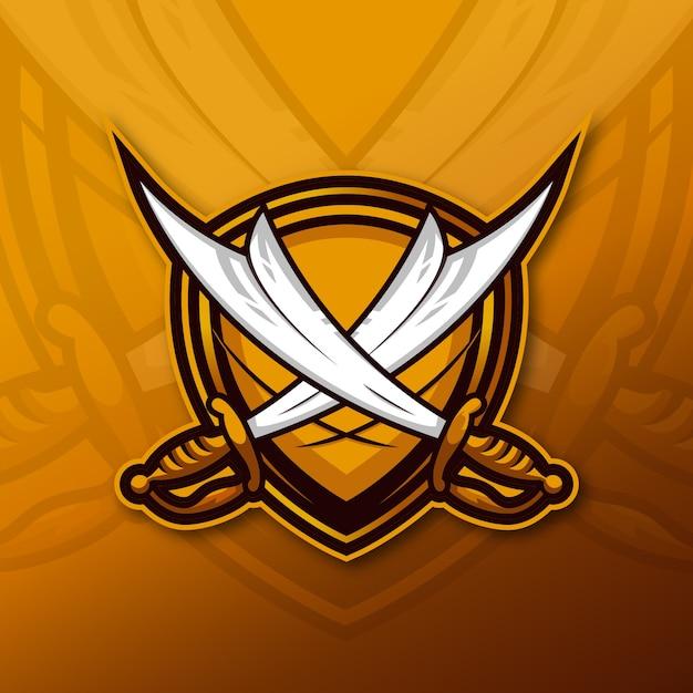 Logo della mascotte della spada esport Vettore Premium