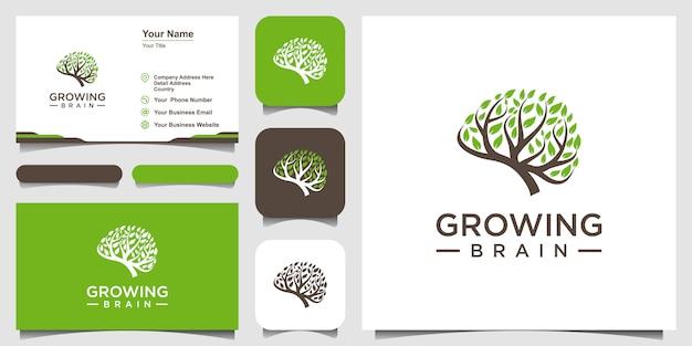 Simbolo creativo crescente cervello logo combinazione cervello logo con logo albero e biglietto da visita Vettore Premium