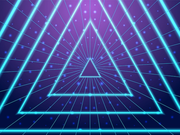 Tunnel neon al neon synthwave stile anni '80 Vettore Premium