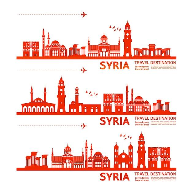Illustrazione della destinazione di viaggio della siria. Vettore Premium