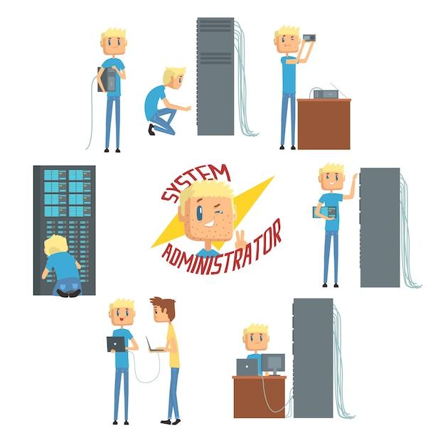 Amministratore di sistema, personaggi dell'ingegnere di rete, set di diagnostica di rete, supporto degli utenti e illustrazioni dei cartoni animati di manutenzione del server Vettore Premium