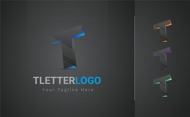 Lettera t logo 3d Vettore Premium