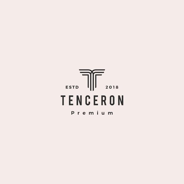 Illustrazione dell'icona di vettore di lettera t logo Vettore Premium