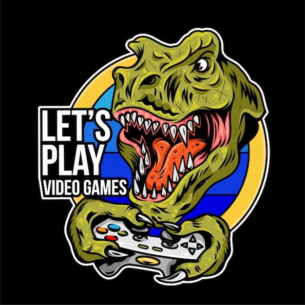 T rex gamer di dinosauro arrabbiato che gioca sul controller gamepad joystick per videogiochi arcade. illustrazione di progettazione logo sport mascotte personalizzato. stampa design della cultura geek per l'abbigliamento da maglietta. Vettore Premium