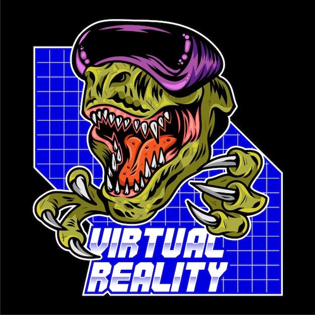 T rex dinosaur angry gamer che gioca a videogiochi arcade virtuali con moderni occhiali vr. illustrazione di design logo sport mascotte con controller gamepad. stampa di cultura geek per abbigliamento t-shirt. Vettore Premium