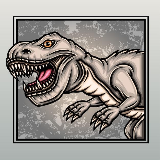Dinosauri t-rex nella vecchia foresta. Vettore Premium