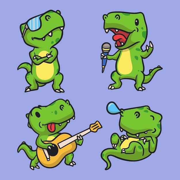 T rex è bello, t rex canta, t rex suona la chitarra e t rex dorme pacchetto di illustrazione mascotte logo animale Vettore Premium