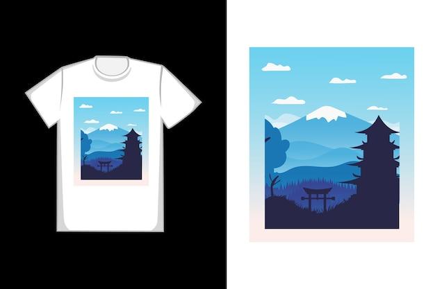 T-shirt bella montagna templi colore blu sfumato Vettore Premium