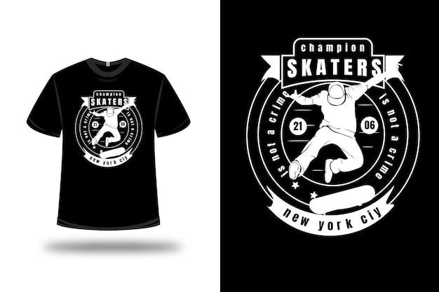 T-shirt campione di pattinatori non è un crimine new york city color bianco Vettore Premium