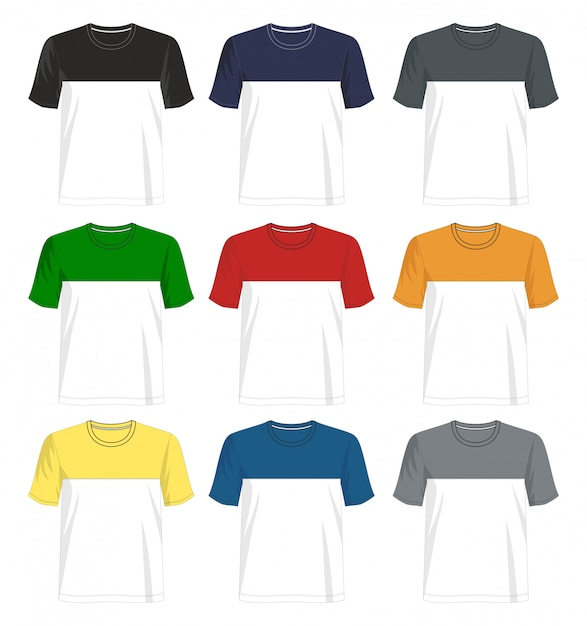T shirt taglia e cuce modello Vettore Premium