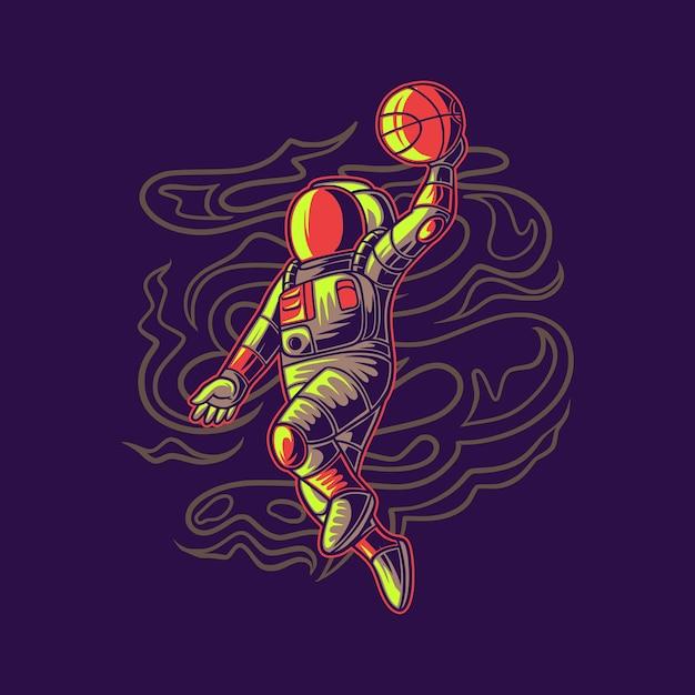 T-shirt design astronauta saltando con basket basket illustrazione Vettore Premium