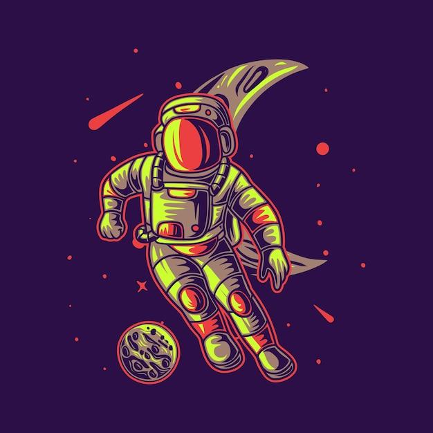 T-shirt design astronauta che gioca a calcio su una falce di luna sfondo illustrazione di calcio Vettore Premium